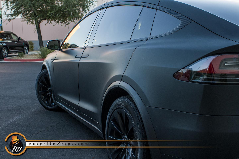 Tesla Model X - Matte Black with Carbon Fiber Chrome Delete