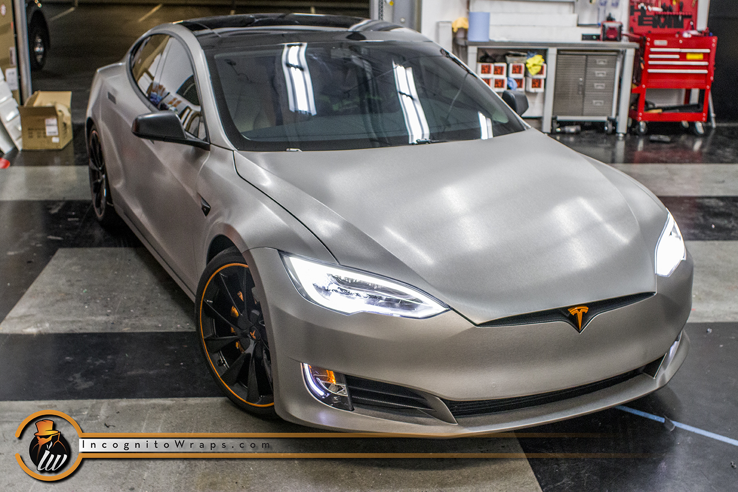 Tesla Model S - Brushed Titanium with Orange Accents