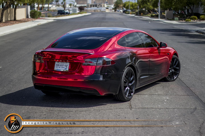 Tesla Model S Custom >> Tesla Model S Custom Printed Red Chrome Incognito Wraps