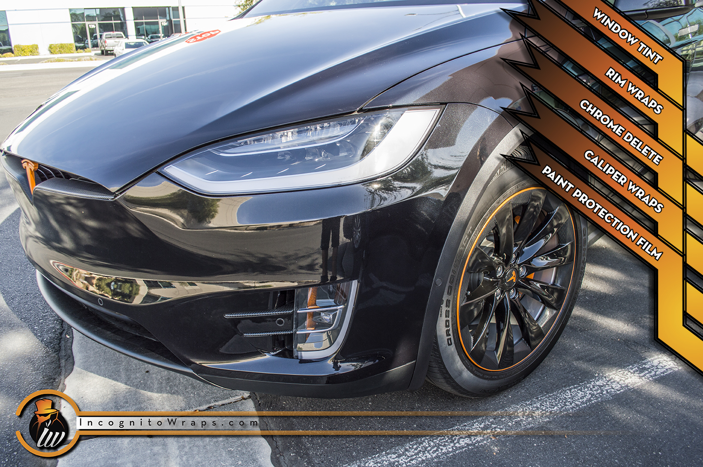 Tesla Model X - Carbon Fiber Chrome Delete, Wrapped Rims and Caliper Wraps
