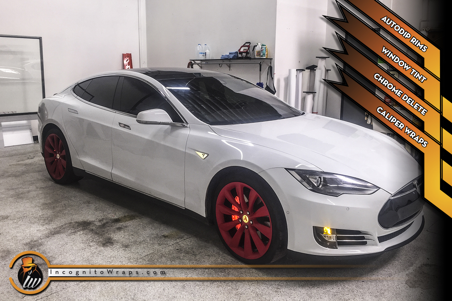 Tesla Model S - Reflective Calipers, AutoDip Rims and Chrome Delete