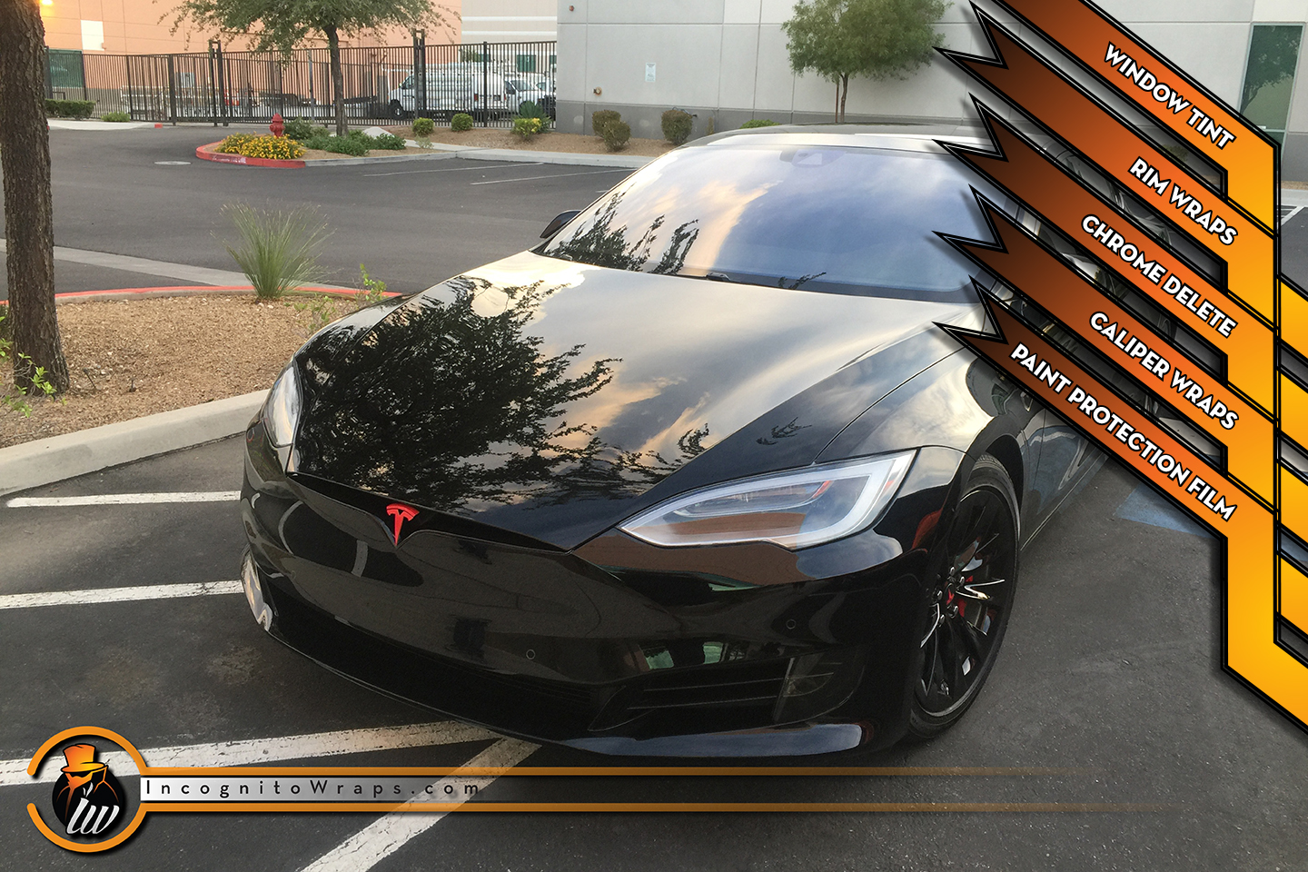 Tesla Model S - Gloss Black Chrome Delete and Rims, Caliper Wraps, Paint Protection Film and Window Tint
