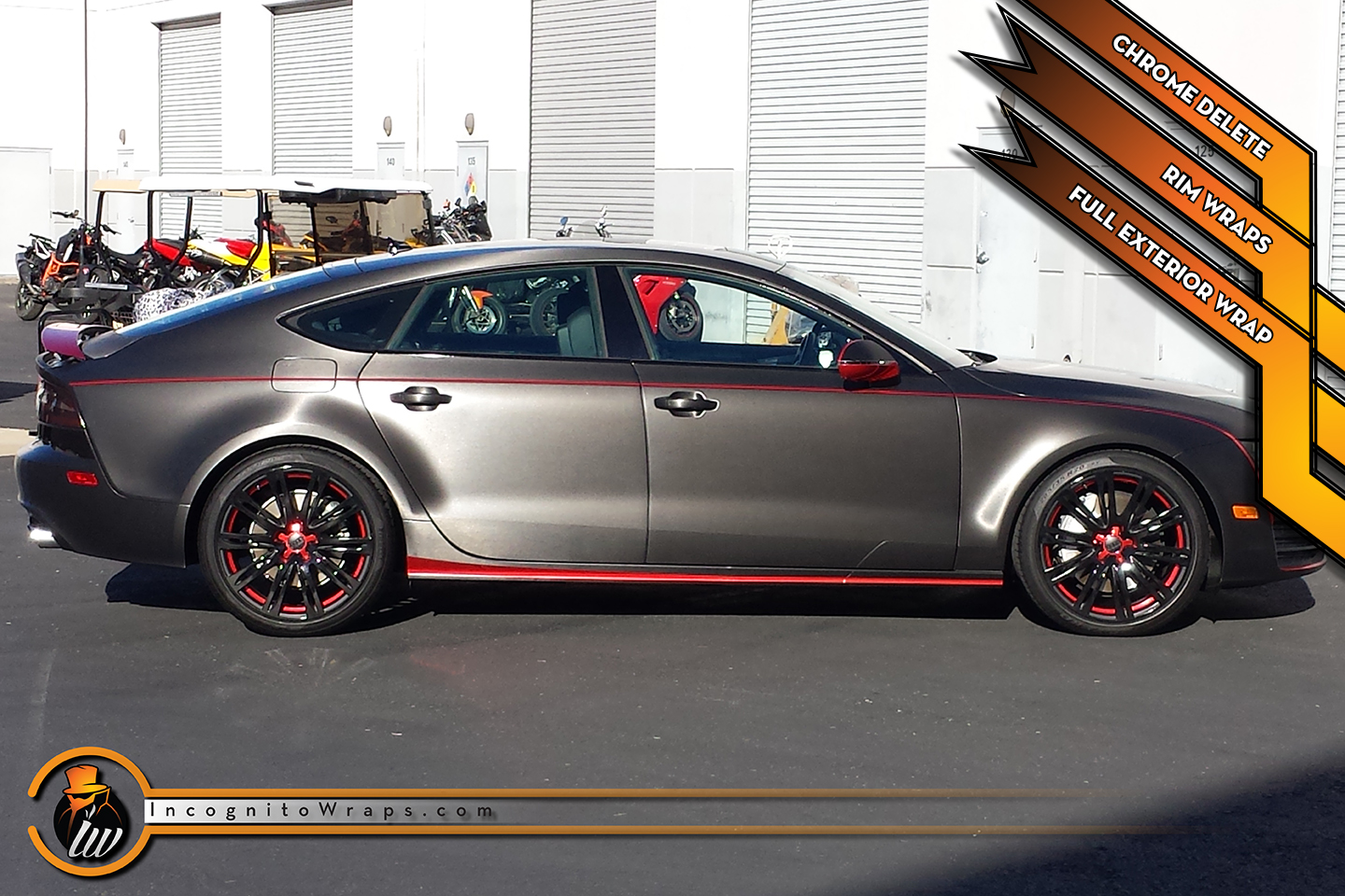 Audi A7 - Brushed Black, Red Chrome and Gloss Black Wrap