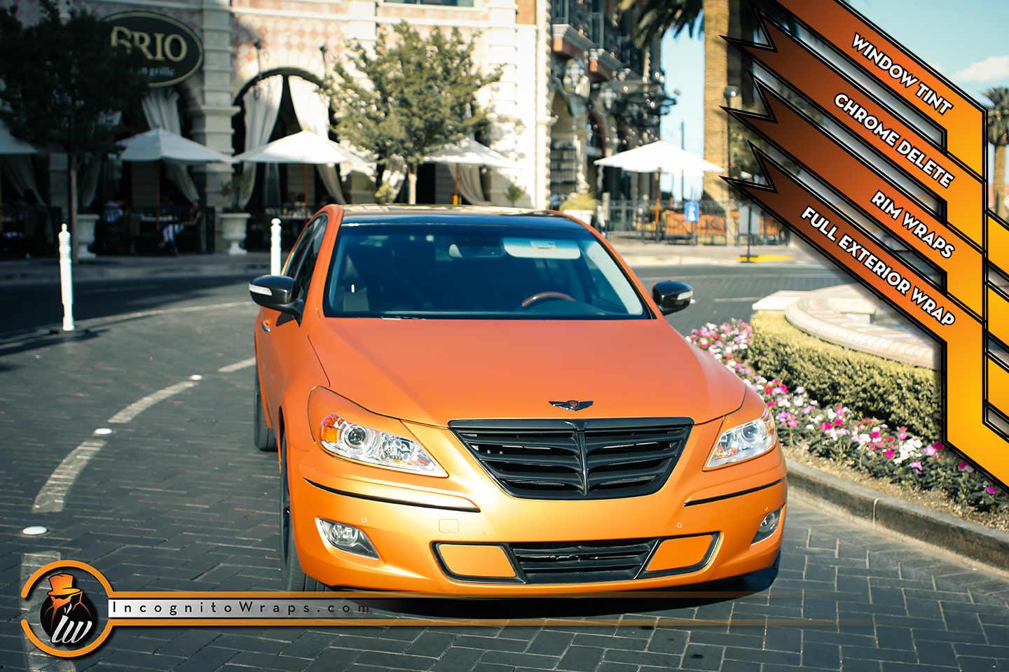 Hyundai Genesis Sedan - Matte Blazing Orange Wrap with Gloss and Matte Black Chrome Delete