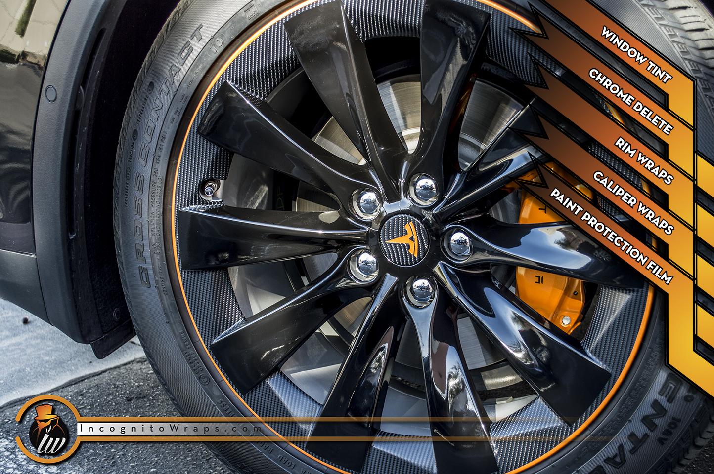Tesla Model X - Carbon Fiber Chrome Delete, Rim Wraps, Caliper Wraps, and Paint Protection film