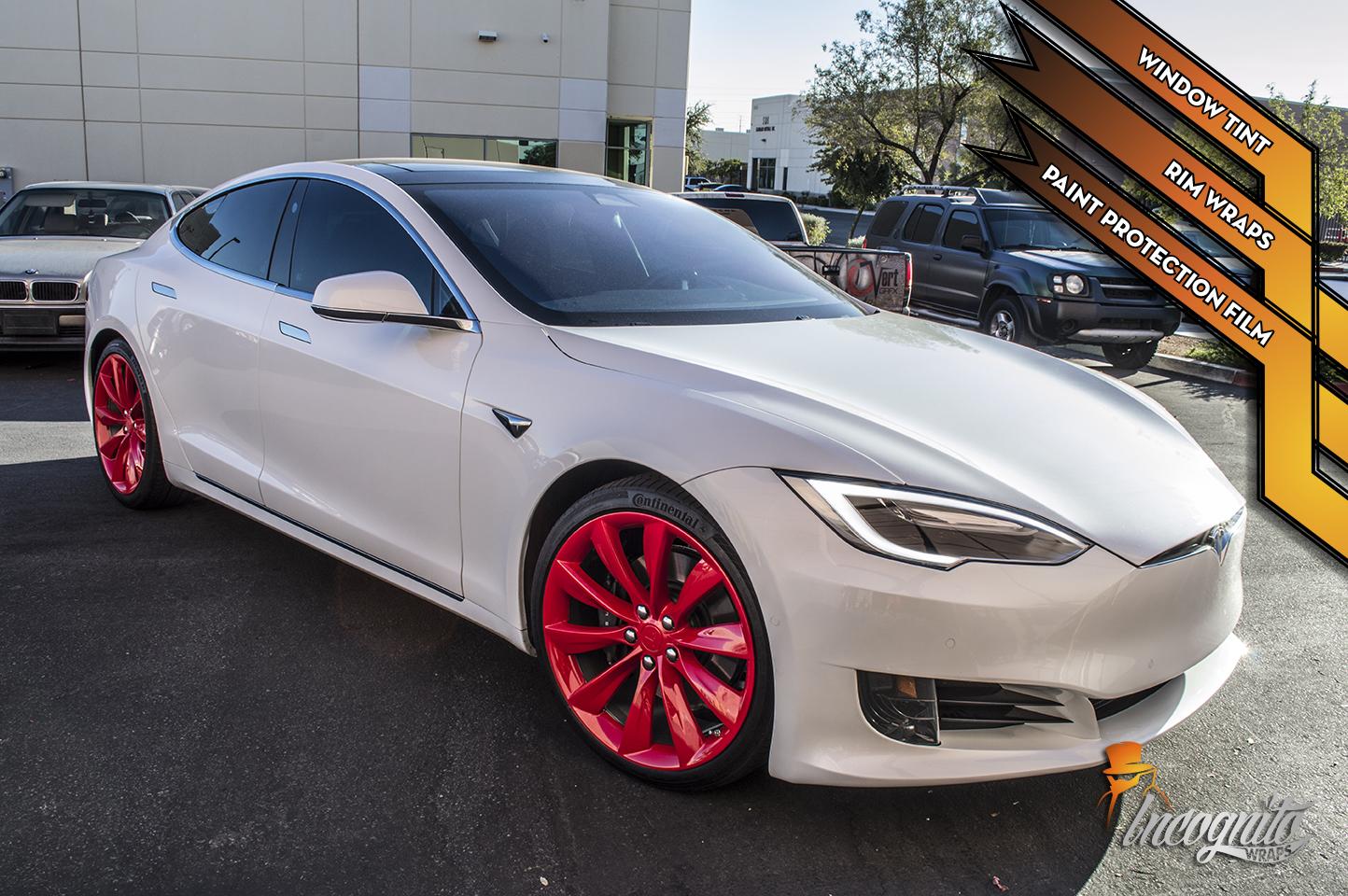 Tesla Model S - Carmine Red Rims