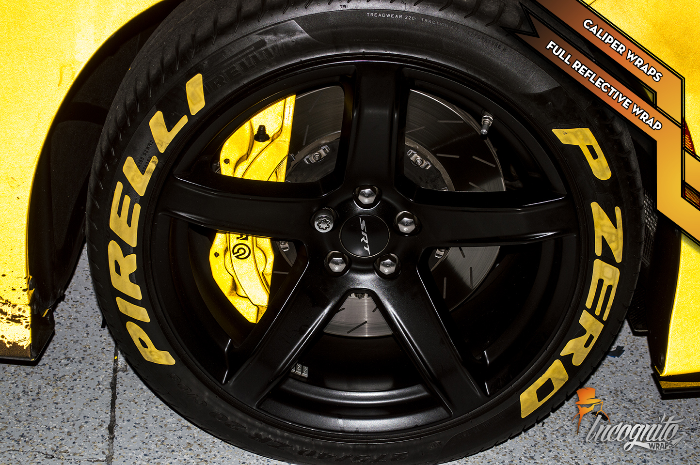Dodge Charger Hellcat - Reflective Yellow Calipers and Full Reflective Wrap
