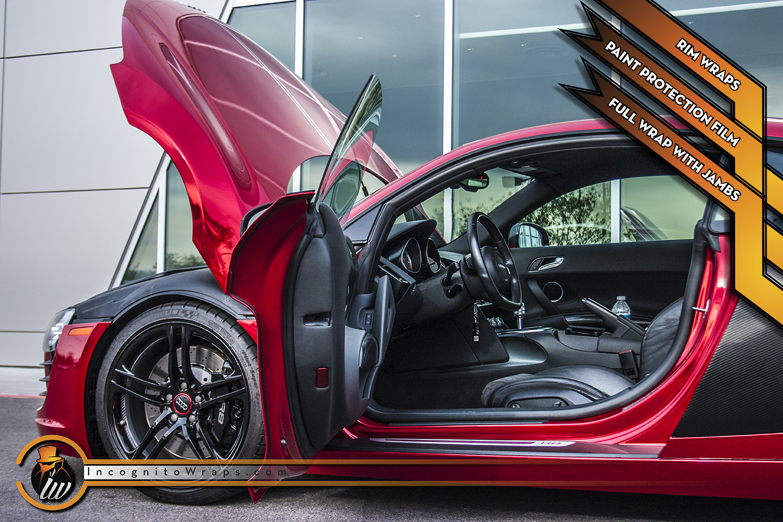 Audi R8 - Chrome Sangre with Gloss Black Rims