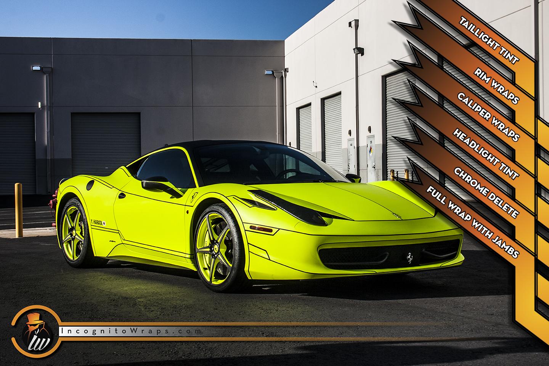 Ferrari 458 Italia - Matte Hi liter Yellow with Rims and Calipers Wrapped