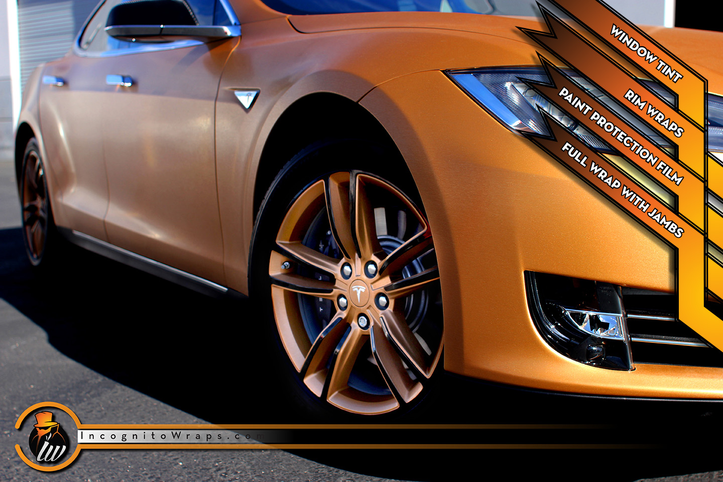 Tesla Model S - Brushed Bronze with Rims Wrapped