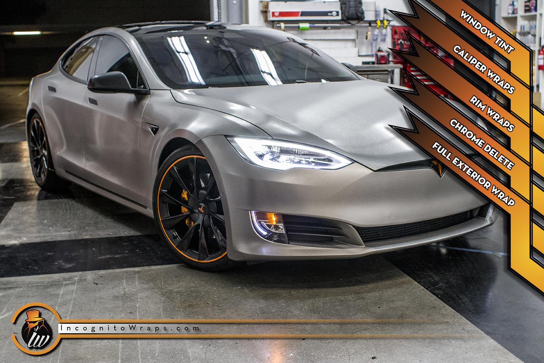 Tesla Model S - Brushed Titanium with Orange Accents
