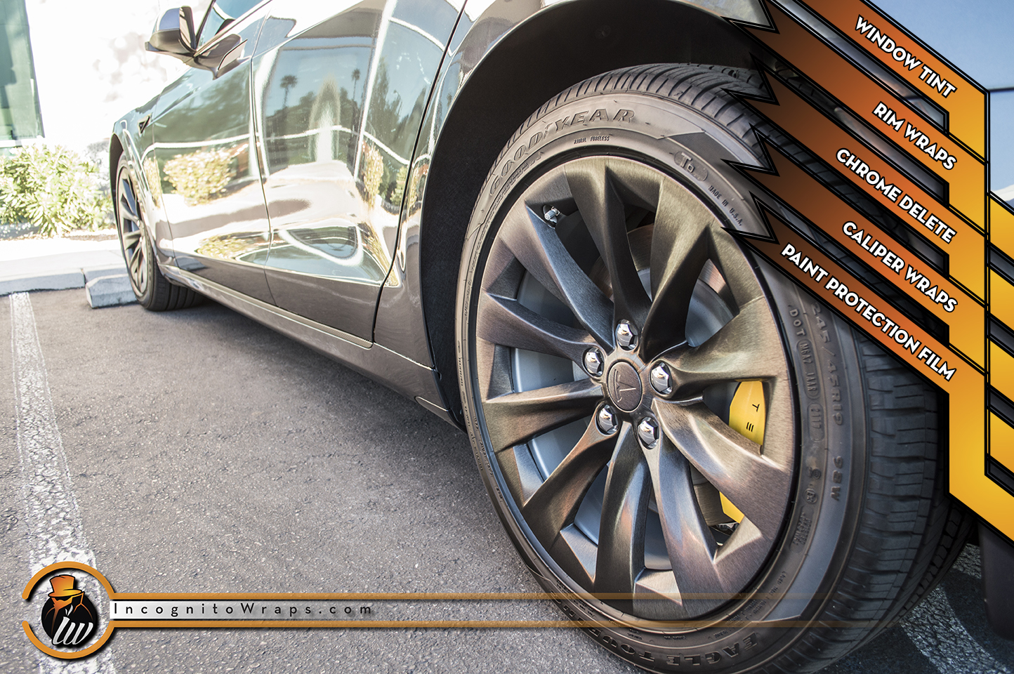 Tesla Model S - Brushed Chrome Delete and Rims withe Yellow Calipers