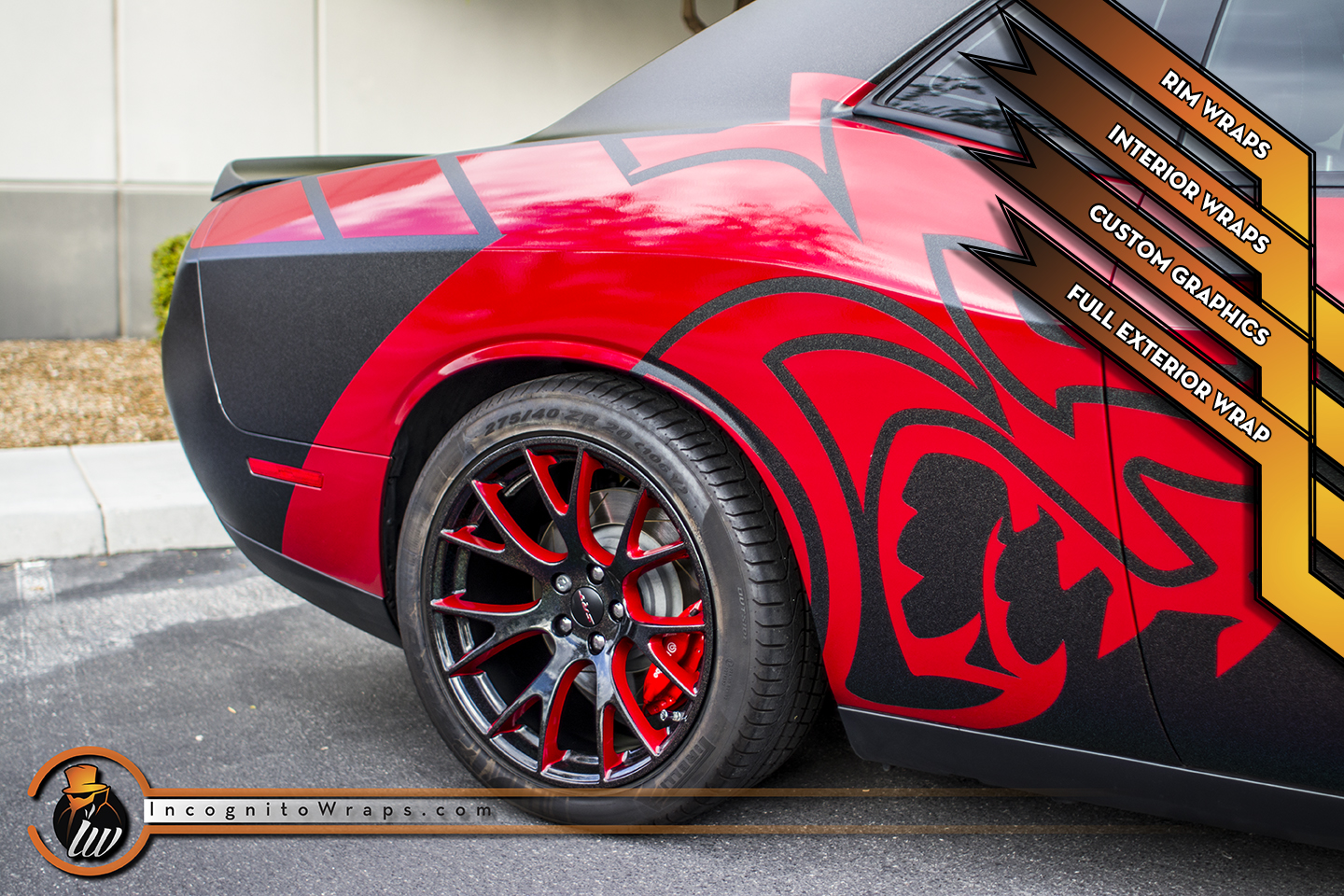 Dodge Challenger Hellcat - Matte Morpheus Wrap with Rims and Interior Wrapped.
