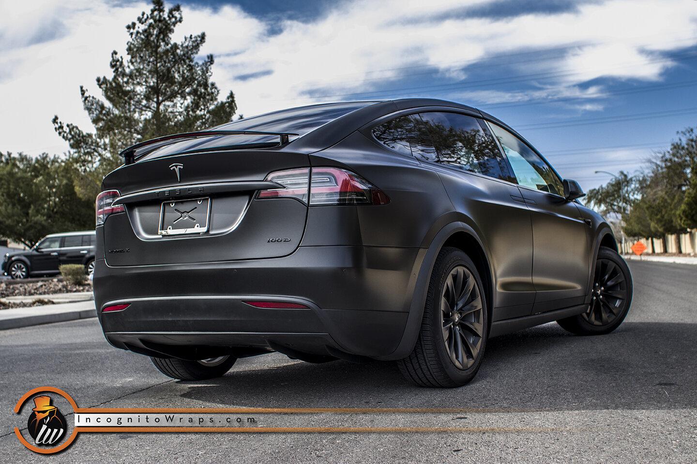 Tesla Model X Satin Black With Chrome Delete And Rims Incognito Wraps
