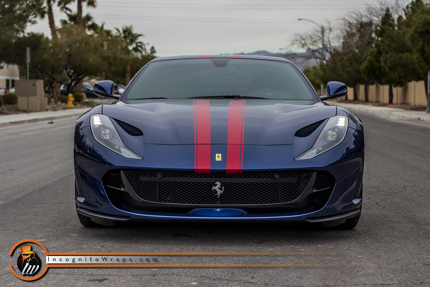 Ferrari 812 Superfast Red Stripes Incognito Wraps