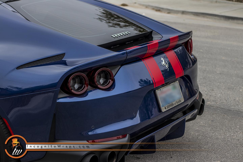 Ferrari 812 Superfast Red Stripes Incognito Wraps