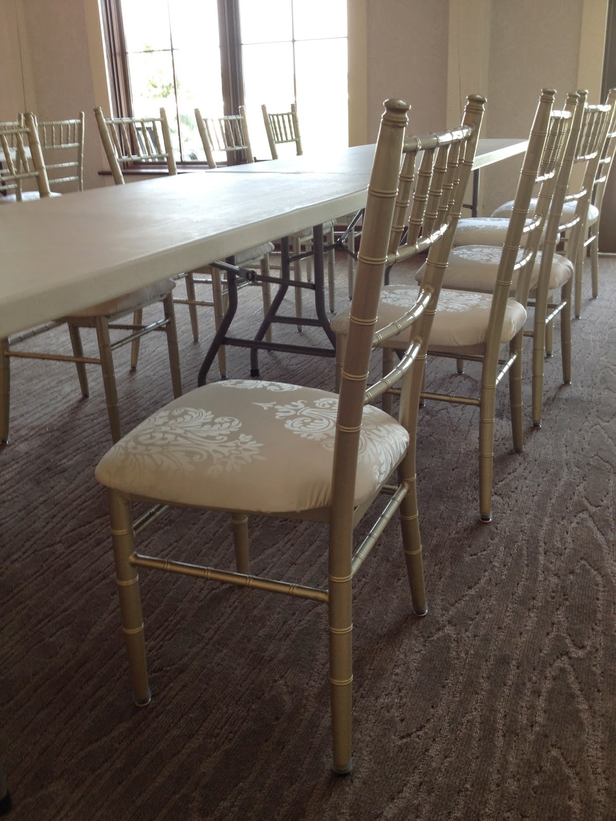 Silver chiavari chairs are include with the largest reception room