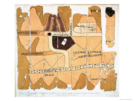 The  Turin Papyrus  circa 1150 B.C., the world's oldest geological map.