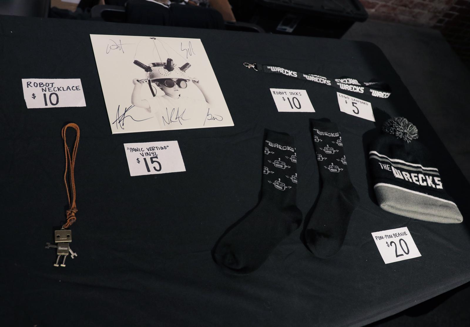 Sample table display for the Panic Vertigo Tour 2018.