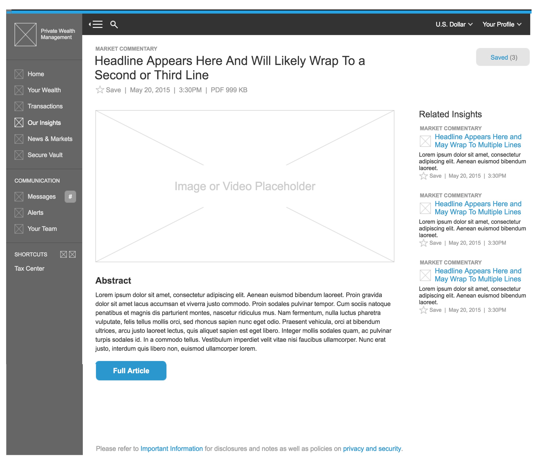 Insights Article wireframe