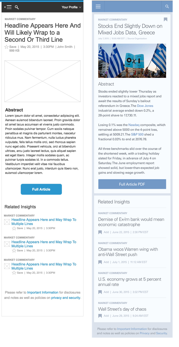 Insights Article mobile wireframe and color composite