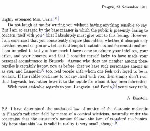 Einstein's letter to Marie Curie