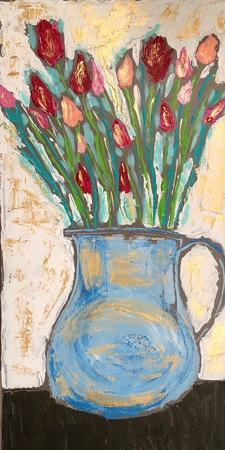 """Pitcher of Spring"", acrylic on canvas, palette knife painted, 15"" x 30"""