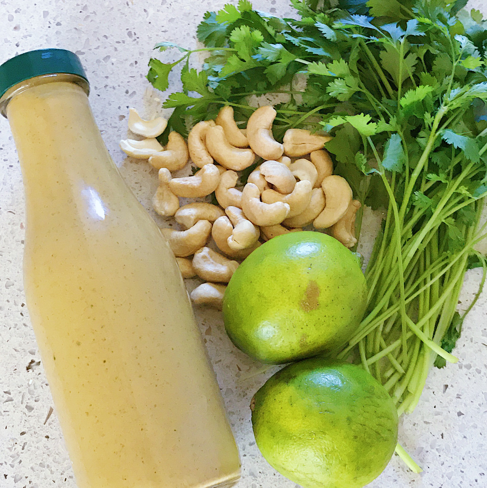 Creamy Cilantro Lime Dressing - INGREDIENTS3/4 cups water1/4 cup lime juice1/4 cup apple cider vinegar1/2 cup soaked cashews (use soaked sunflower seeds for nut-free option)1 cup cilantro, loosely packed2 cloves garlic1 teaspoon chili powder1 teaspoon chili flakes1 teaspoon cumin2 teaspoons sweet smoked paprikapink Himalayan salt to tasteDIRECTIONSBlend all ingredients until smooth. Store in fridge for 1 to 2 weeks.