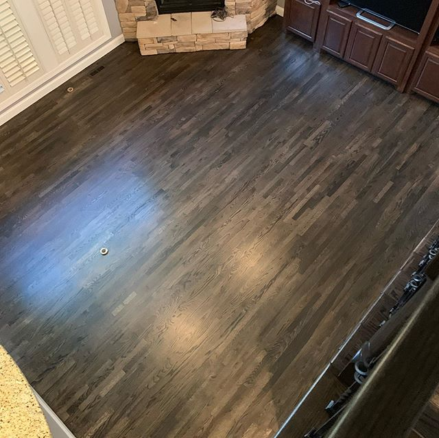 Absolutely beautiful . Graphite stain with satin bona traffic hd #bona #bonapro #hardwoodfloors #hardwoodfloorsofinstagram