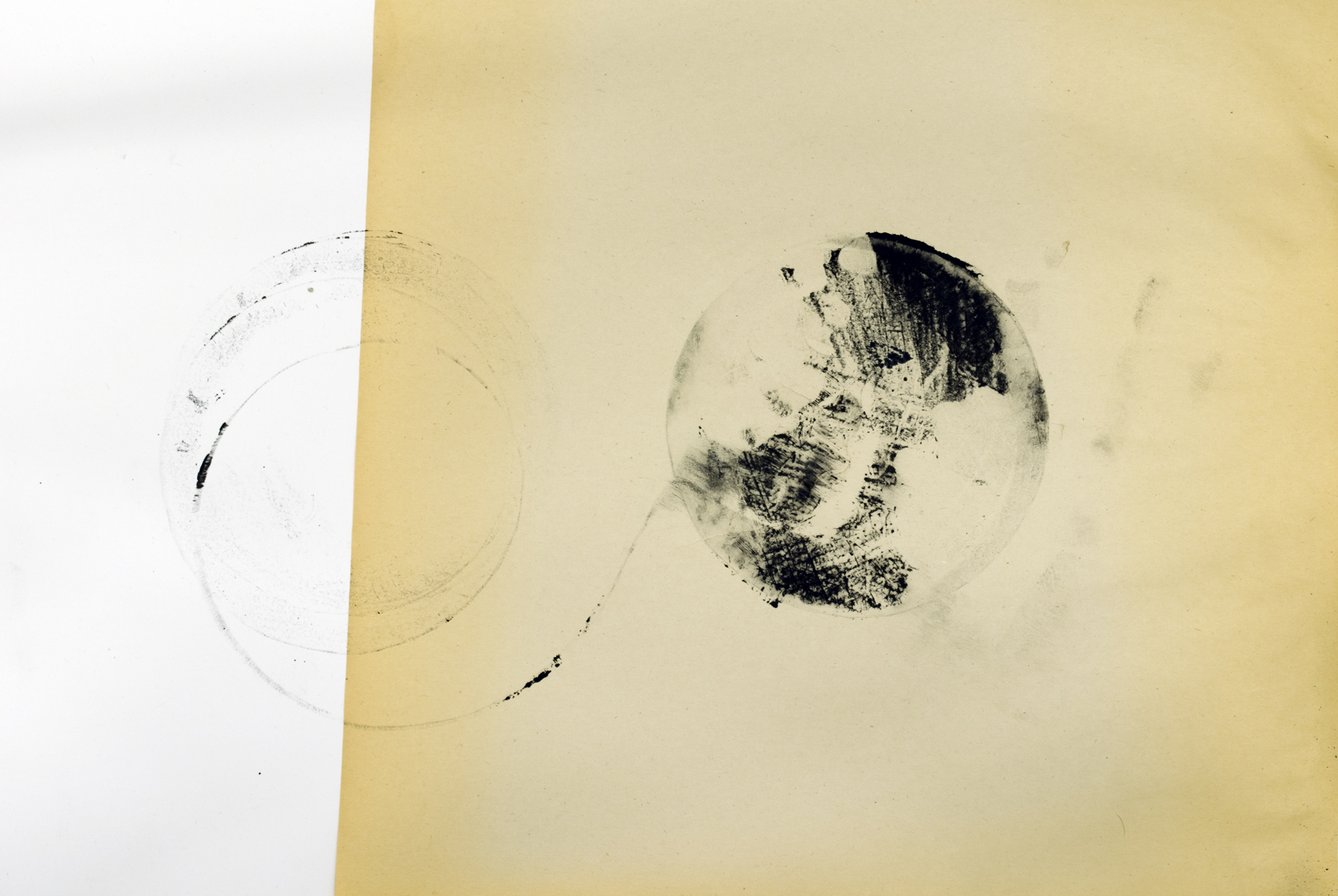 Infinity . Ink on found paper on board. 2015-2016.  One of dozens of action prints that involve the generation of momentum and hurling of weight.