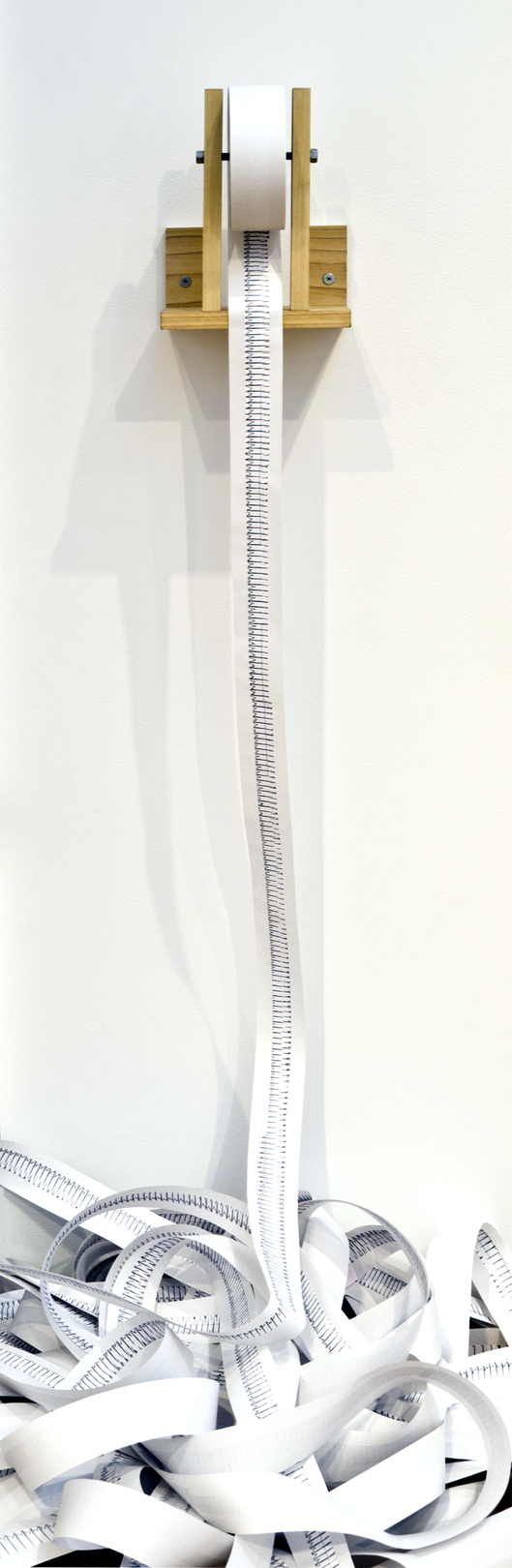 Linear Chronology.  Digital printout, receipt paper, wood, steel. 460 feet by 5 feet (dimensions variable). 2012.