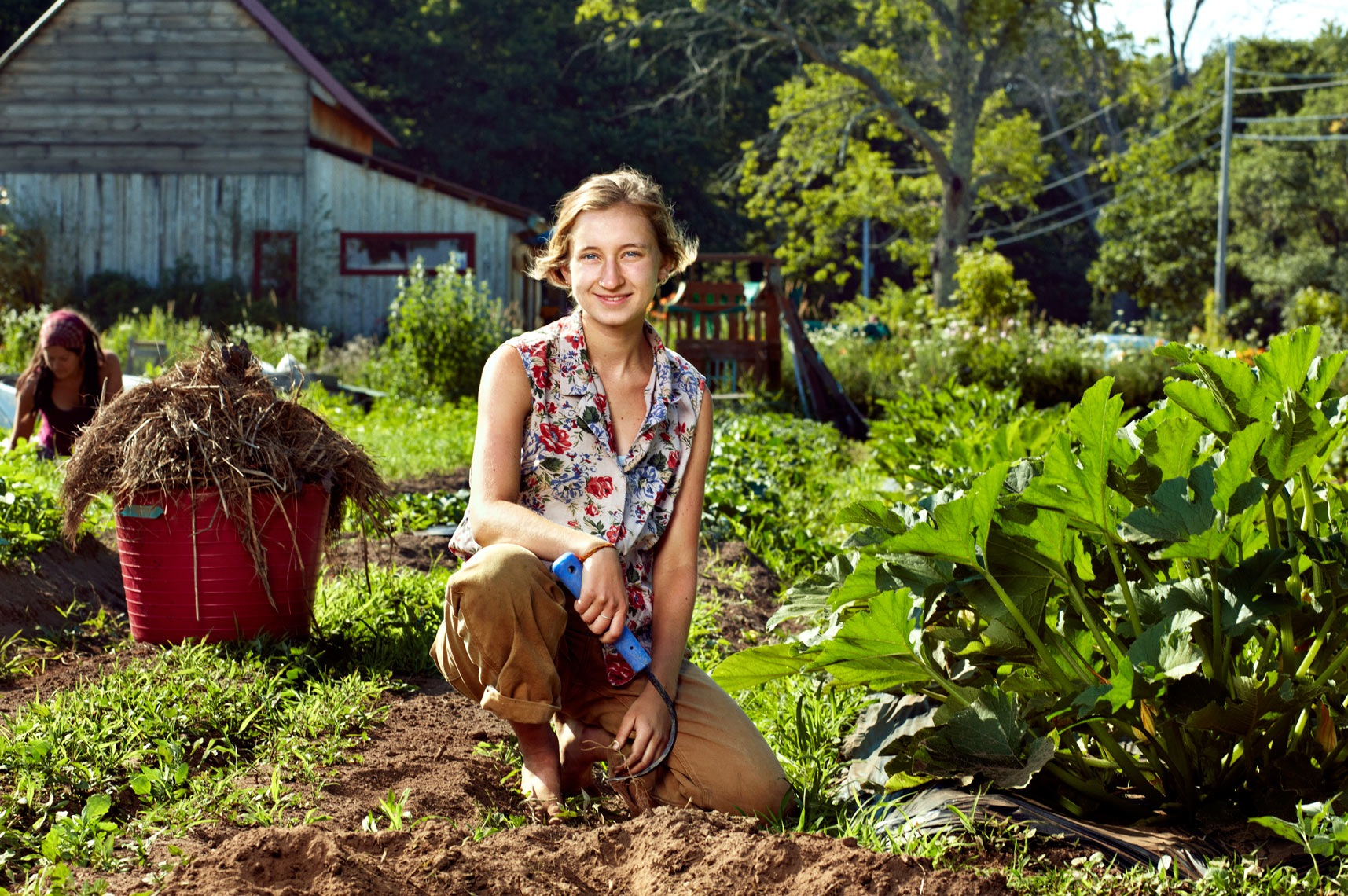 Becca Roe , 22, from Washington, DC, graduated from Middlebury College in 2015   What is your favorite task to do on the farm, and favorite thing to harvest?   I get a weird satisfaction from squishing bugs (especially japanese beetles) and feeding them to the chickens.  I love harvesting onions and scallions, and root veggies of all kinds.   What's your favorite CD to listen to in the greenhouse?   It's a toss-up between Dolly Parton's  The Grass is Blue  and Grateful Dead's  Reckoning    Why did you do this apprenticeship?   Ultimately I want to work with food in some capacity — perhaps through urban agricultural initiatives or farm-to-school programs — so I think understanding how organic food is grown is an important step.   Fun facts:  I get very squeaky hiccups nearly every day, and I'm a burgeoning craft beer snob. I'm also cultivating a newfound appreciation for very twangy bluegrass.   Spirit veg:  radish
