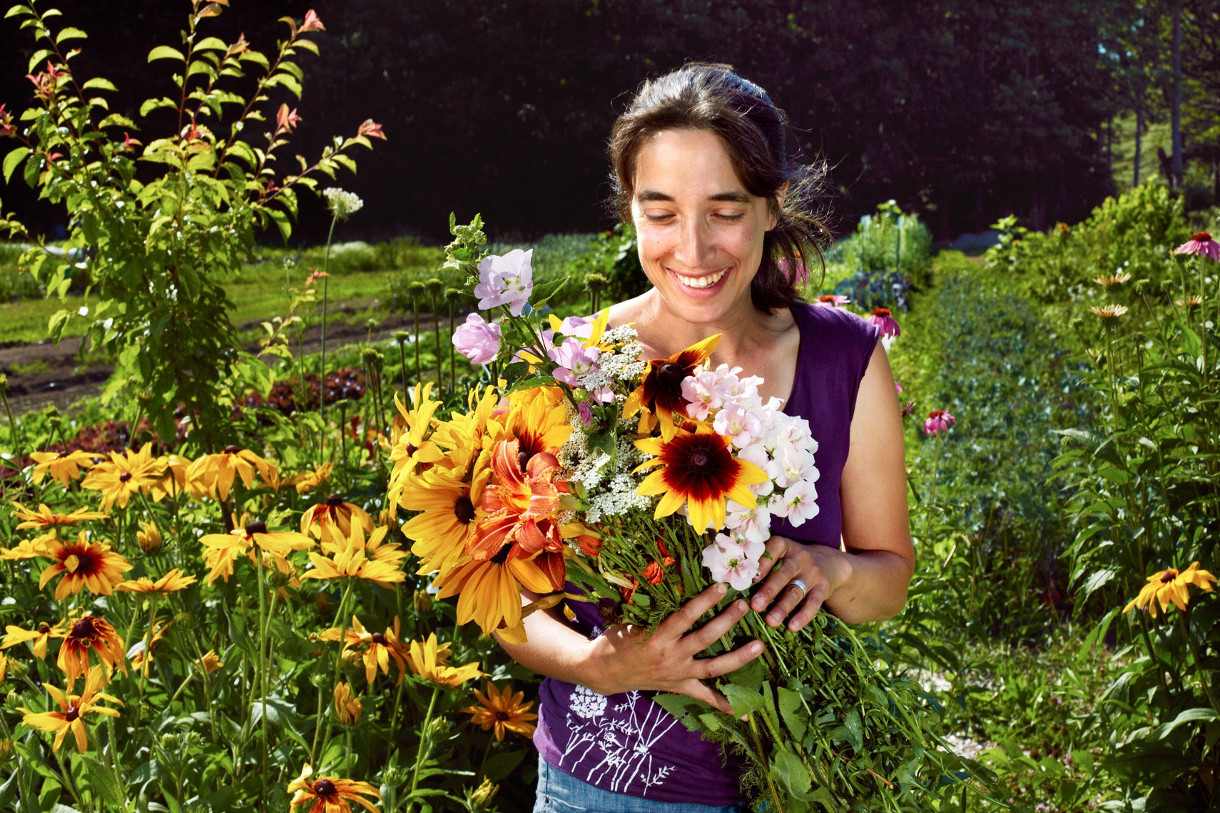 Flora Brown, flower farmer-florist, farm stand manager, behind-the-scenes person.