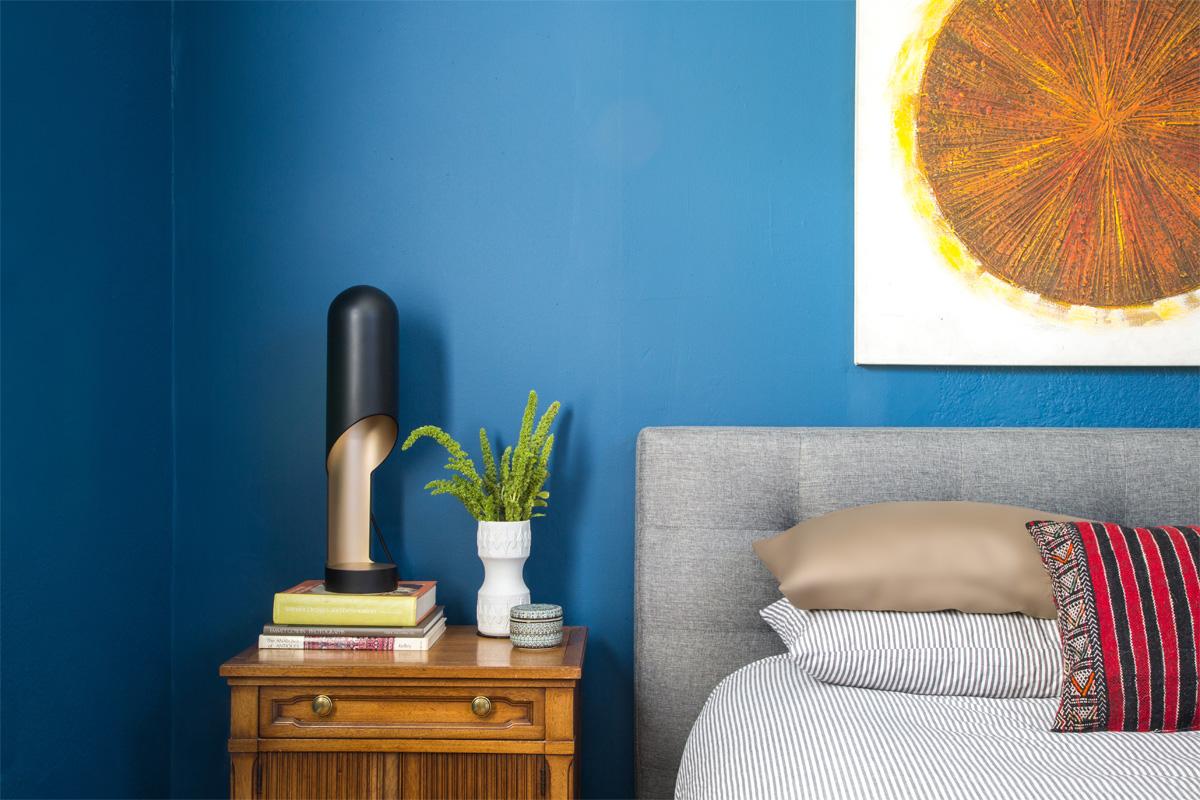 8 Modern Eclectic Blue Bedroom Tom Dixon Moroccan Pillow.jpg