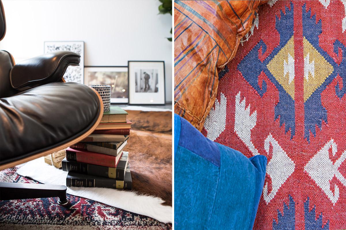 4_eames lounge chair tribal rug kilim art collection denim leather.jpg