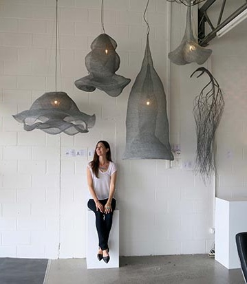 Cherise Thomson and her unique sculpted lights on display at the James Russ gallery
