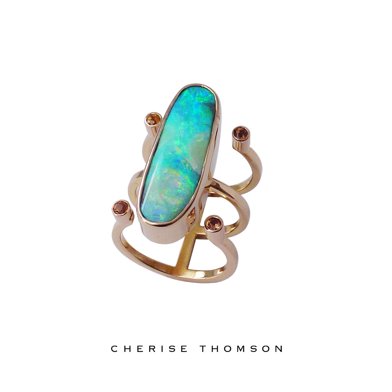 Cherise Thomson | Boulder Opal and Apricot Sapphire Rose Gold Ring | #CTJ16014