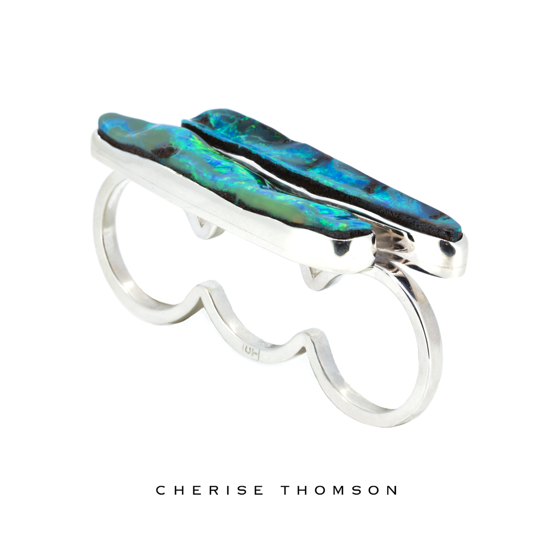 Cherise Thomson | Three Finger Boulder Opal Silver Ring | #CTJ15002