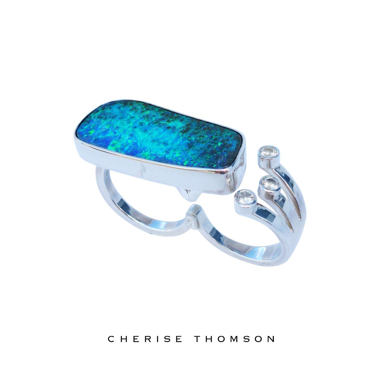 Cherise Thomson | Two Finger Boulder Opal & White Sapphire Silver Ring | #CTJ16012