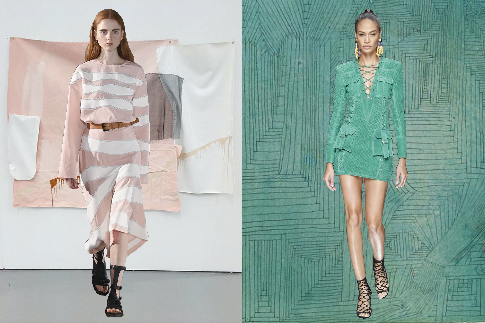 left to right:  cédric charlier  on  isabel yellin ;  balmain  on  paul klee