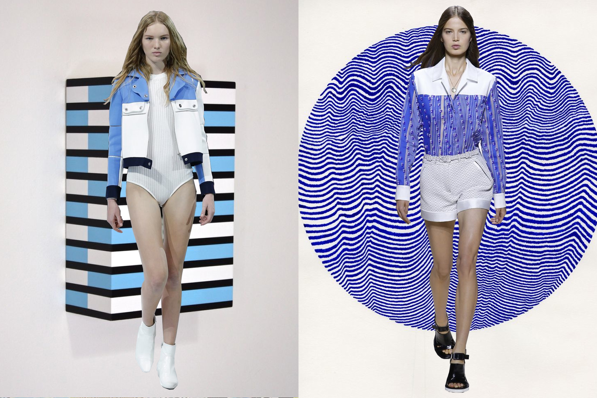 left to right:  cour    règes  on  richard roth;   carven  on  caitlin foster