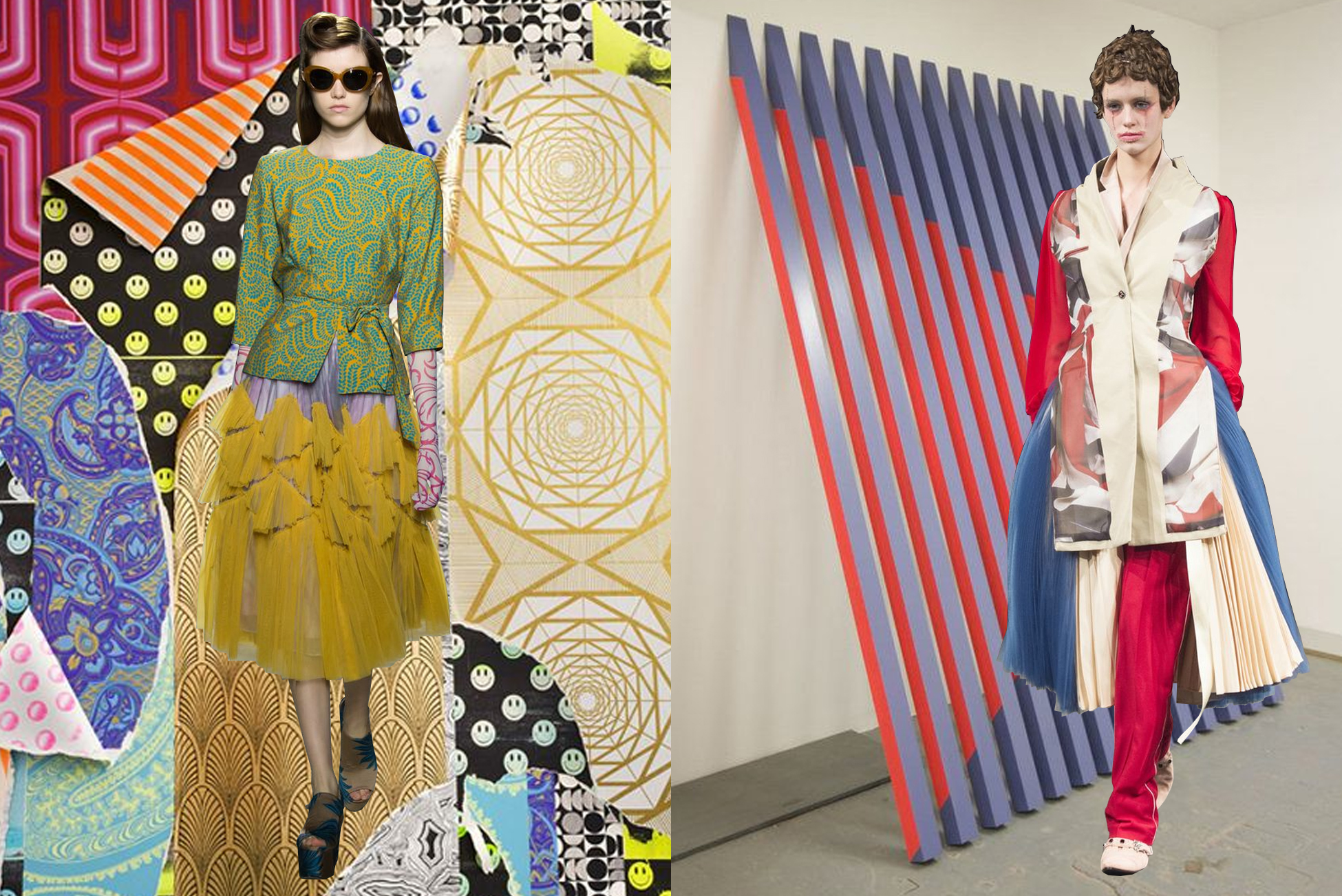 left to right:  dries van noten  on l udovica gioscia ;  undercover  on  rana begum