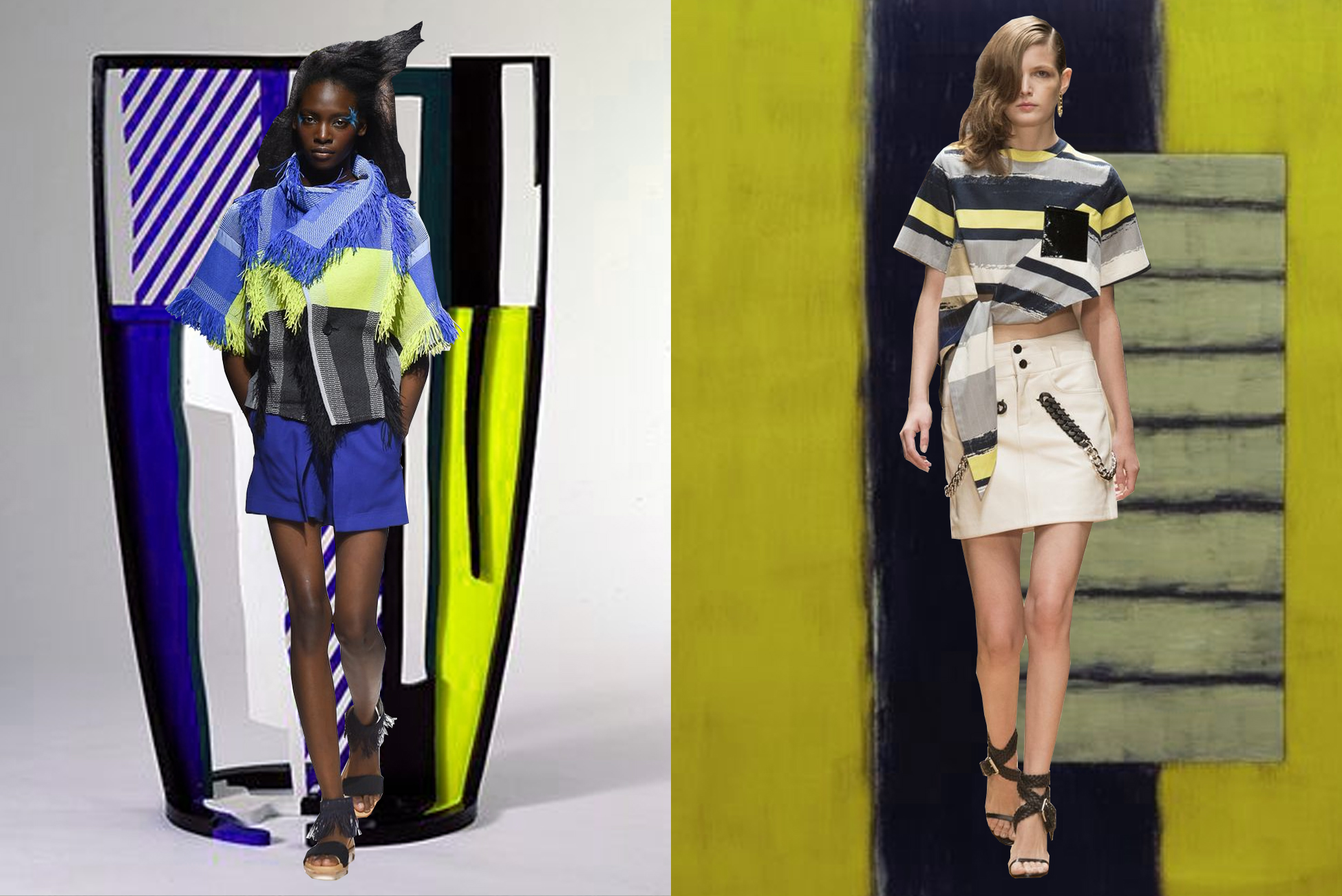 left to right:  issey miyake  on  roy lichtenstein ;  guy laroche  on  sean scully