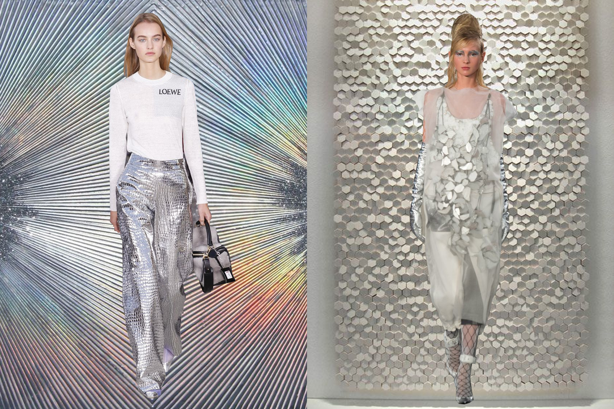 left to right:  loewe  on  sylvia hommert ;  maison margiela  on  tokujin yoshioka