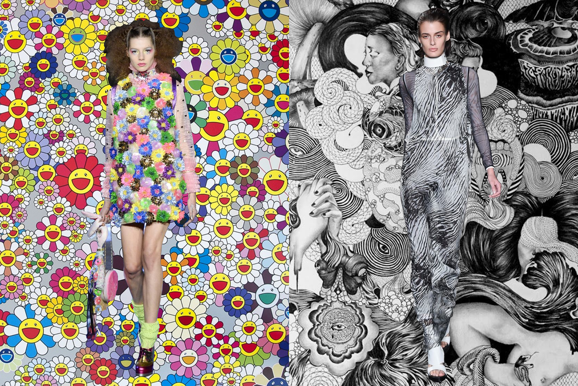 left to right:  manish arora  on  takashi murakami ;  ann demeulemeester  on  céli lee