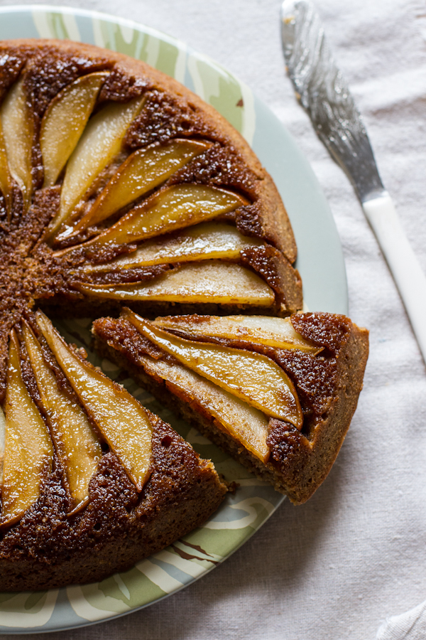 Buttermilk Pear Upside Down Cake | edibleperspective.com