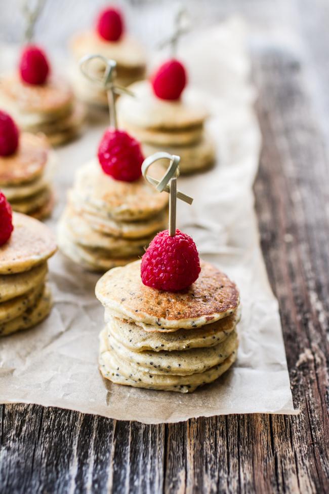 Mini Lemon Poppy Seed Pancakes with Lemon Yogurt + Goat Cheese Sauce | edibleperspective.com