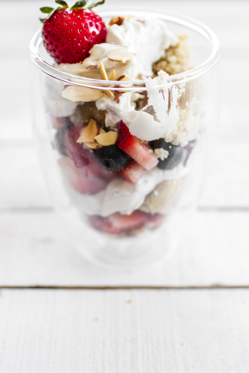 Almond Berry Cake Parfaits for Two | edibleperspective.com