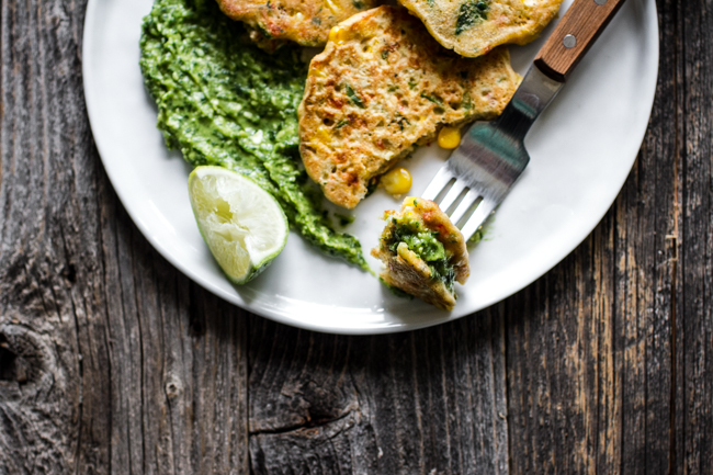 orn Fritter Cakes with Avocado Lime Sauce | edibleperspective.com