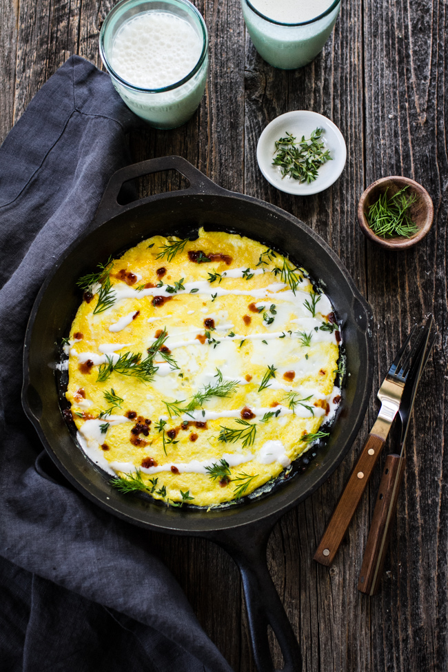 Flat Omelet with Yogurt, Hot Sauce, and Herbs from Yogurt Culture by Cheryl Sternman Rule | edibleperspective.com